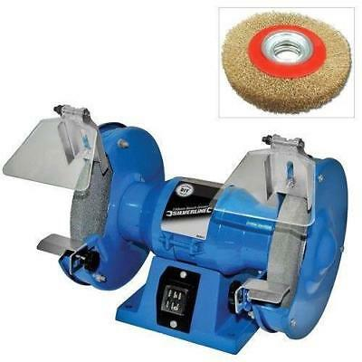 """150Mm ELECTRIC BENCH GRINDER 230V 150W + 6"""" POLISHING GRINDING WIRE WHEEL BRUSH"""