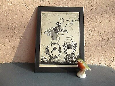 vintage  silhouette illustration of insects playing music 1932