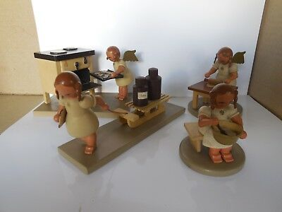 4 Vintage ANTIQUE Erzgebirge R. Glasser Baker Angels 1930's,40's Germany Wooden
