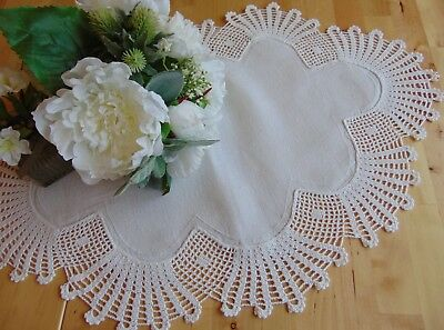 Antique Vintage Hand Crocheted Antique-White Starched Linen Large Centrepiece