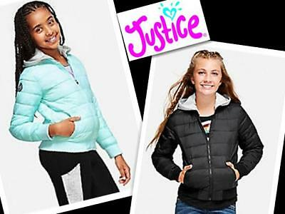 NWT Justice Girls Packable Puffer Jacket Size 6 7 10 Aqua Peach