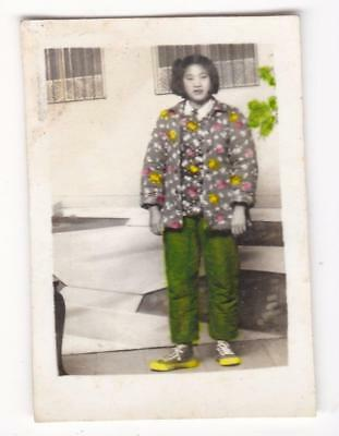 Chinese Girl Hand Colored Jacket Sneakers Studio Photo Backdrop 1950s-60s China