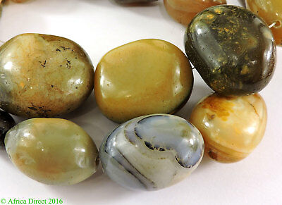 Agate Stone Beads Huge Polished Africa 32 Inch SALE WAS $345