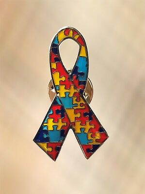 NEW Autism Awareness Puzzle Ribbon Lapel Pin Charity Brooch Style 1