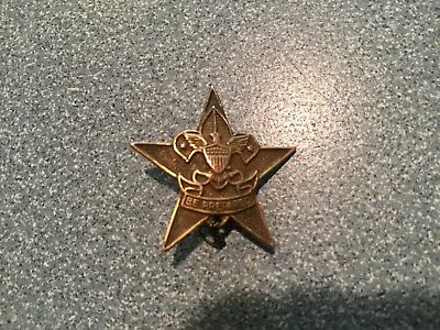 VINTAGE B.S.A. Boy Scouts GOLD FILLED STAR PIN w/ KNOTTED LOOP & BE PREPARED BAR