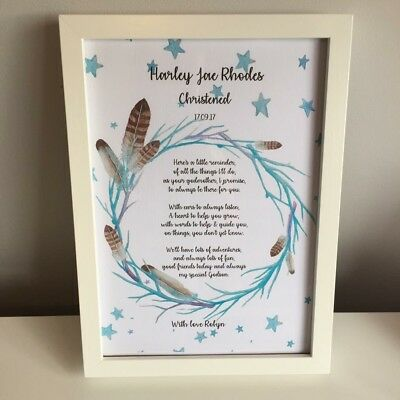 Personalised Godparent Godson Christening Day Gift Print - Nursery Art