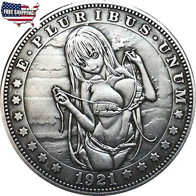 Hobo-Nickel -1921-D-USA - Morgan-Dollar  BAD GIRL COIN