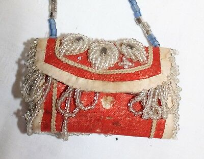 Victorian Beaded Roll-up Sewing Kit As Found Condition