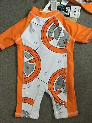M&S Star Wars Safe In The Sun Swimsuit With Short Sleeves & Legs With Hat-Bnwt