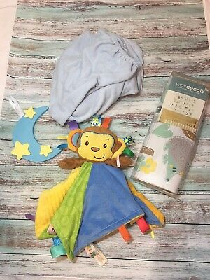 Baby Boy Gift Box Bundle Wall Decal Rattle Monkey Toy Changing Pad Cover Cresent