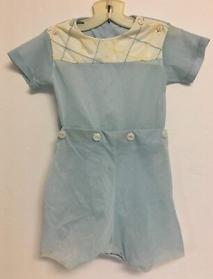 Vintage Boy's Toddler Blue & Yellow Two Piece Attached Shorts Outfit Romper