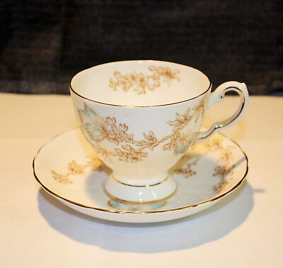 Vintage Tuscan English Bone China Tea Cup & Saucer, Butterfly Pattern