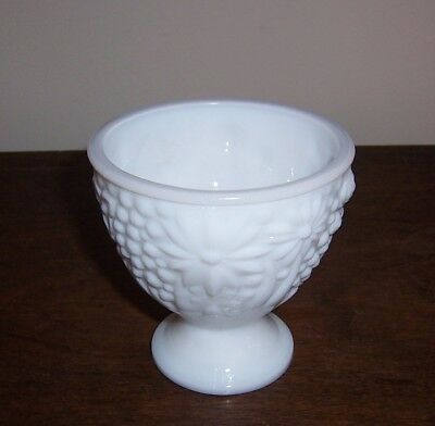 Avon Milk Glass Footed Bowl - Flowers - Candy Dish Bottom Base - No Lid