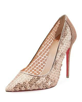 dcf6f5feb20 CHRISTIAN LOUBOUTIN FOLLIES LACE 100 Rete Suede Floral Heels Pumps ...