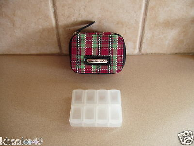 Longaberger Holiday Plaid Vitamin Pill Box Case With Id Card Nip * Free Shipping