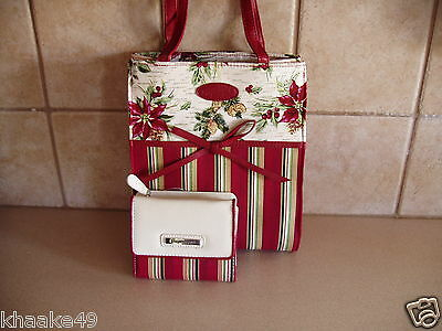 Longaberger Holiday Botanical Stripe Small Tote & Wallet Set Nip * Free Shipping