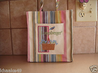 Longaberger Botanical Stripe Small Tote Basket Of Flowers Front Pocket Free Ship