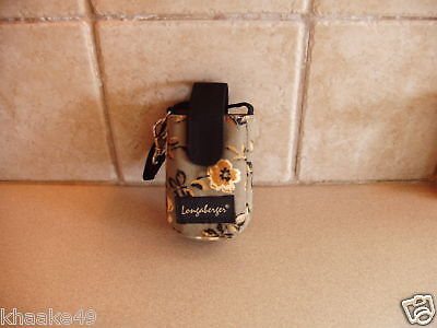 Longaberger Khaki Floral Cell Phone Wristlet Clip-On Carry Case Nip * Free Ship