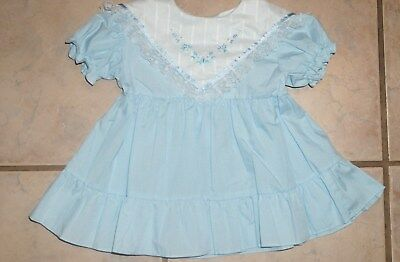 Vintage baby Dress Sz 12 mo Large Collar Tiered Ruffles Embroidered Lace Trim
