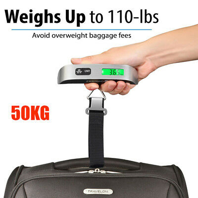 Portable Electronic Weight 110lb / 50kg LCD Digital Hanging Luggage Scale Travel