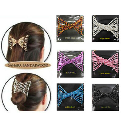 Women Magic Hair Slide Easy Double Beads Stretchy Hair Comb Stretchable Clips