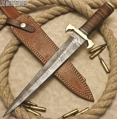 Custom Damascus Hand Made Hunting Dagger Knife Stacked Leather By Louis Martin