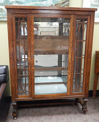Antique Empire Arts & Crafts Mission Oak Glass Bookcase Cabinet Shelf Larkin