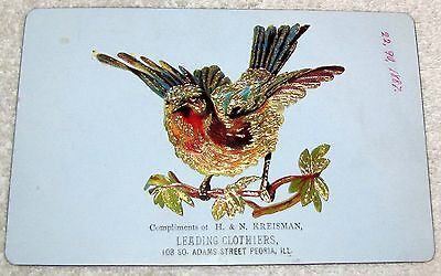 Peoria, Il.--Late 1800's Trade Card--Proof--H. & N. Kreisman Clothiers--90