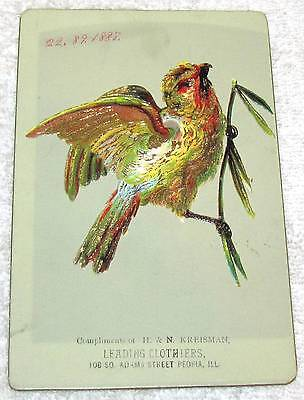 Peoria, Il.--Late 1800's Trade Card--Proof--H. & N. Kreisman Clothiers--89