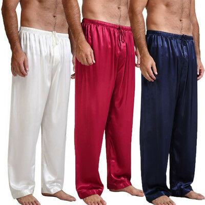Mens Silk Satin Pajamas Pyjamas Pants Sleep Bottoms Nightwear Sleepwear Trousers