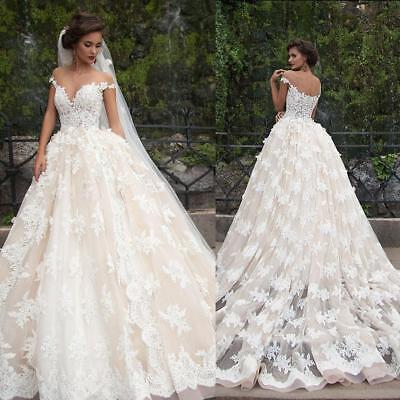Vintage Champagne White Wedding Dresses Bridal Ball Gowns Off Shoulder Customize