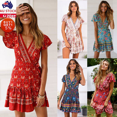 Women V Neck Boho Floral Ruffled Mini Dress Ladies Summer Beach Party Sundress
