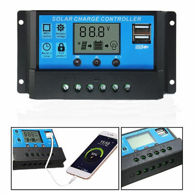 10/20/30A 12V/24V USB LCD Solar Panel Charger Controller Battery Regulator Kit