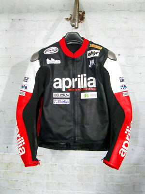 Aprilia Men Motorcycle Leather Jacket Motorbike Cowhide Racing Leather Jacket
