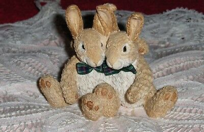 Vtg Bobtails Rabbit Figurine Hand Painted Resin Bunny Rabbit Hares British Isles