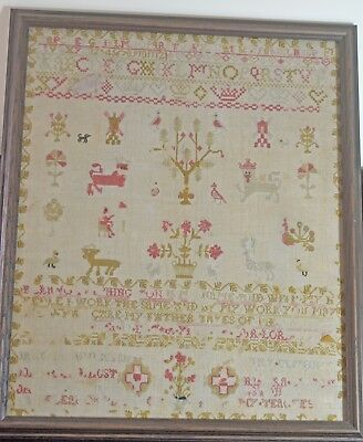 Beautiful 19Th Century Antique Sampler In Wood Frame Tt956