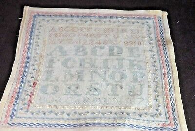 Small Antique Sampler With Beautiful Stitching – 1873 Tt977