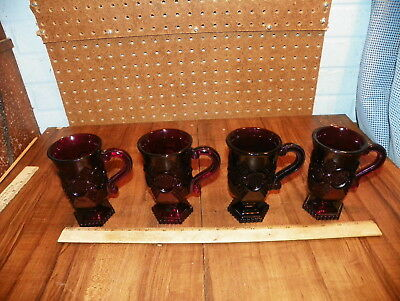Vintage Set Of 4 AVON 1876 CAPE COD Ruby Red Glass Coffee Mugs / Cups          !