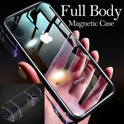 Magnetic Metal Slim Full Body Glass Case Cover Skin for Apple iPhone XS Max XR X