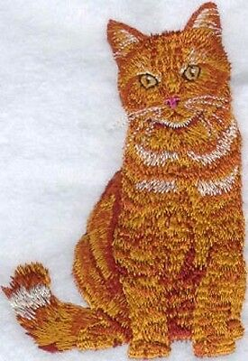 Embroidered Long-Sleeved T-Shirt - Orange Tabby Cat I1054