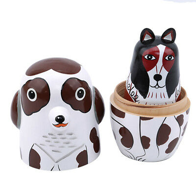 Wooden Nesting Dolls Matryoshka Russian Dogs Painted Doll Toy Home Decor Z