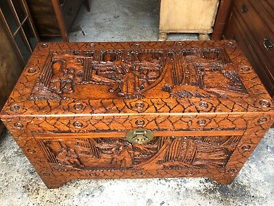 Large Oriental Carved Blanket Box / Chest / Trunk