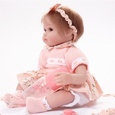 42cm Lovely Reborn Baby Girl Doll w/ Clothes Set Accs Kids Sleeping Playmate