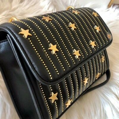 5db01527cf7 Tory Burch Fleming Star Stud Small Convertible Shoulder Bag Black RRP £525