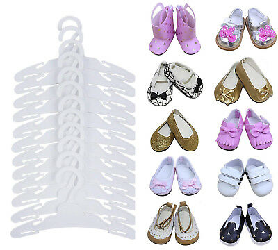 12 pcs Plastic Hanger + 3 Pairs Shoes for America Girl Doll 16-18 inch My Life