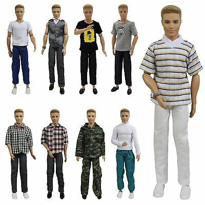 5 Set Fashion Wear Doll Clothes Outfit Lot Tops Shirt Pants For 12 inch Boy Doll