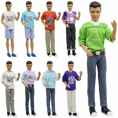 5Set Lot Fashion Doll Wear Clothes Outfits Tops Shirt Pants For 12inch Boy Doll