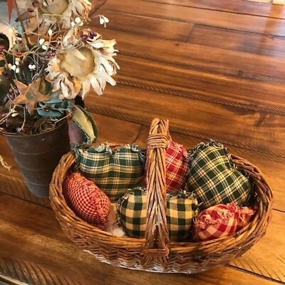 Farmhouse Plaid Ornies Bowl Fillers Rag PrImITive Hearts Red Green Christmas