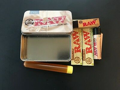 Raw Rolling Kit  Bundle King Size Papers RAW Tips Clipper Tin Carry Case 420