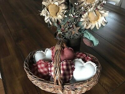 Farmhouse Plaid Ornies Bowl Fillers PrImITive Hearts Red Tan Valentine's Day